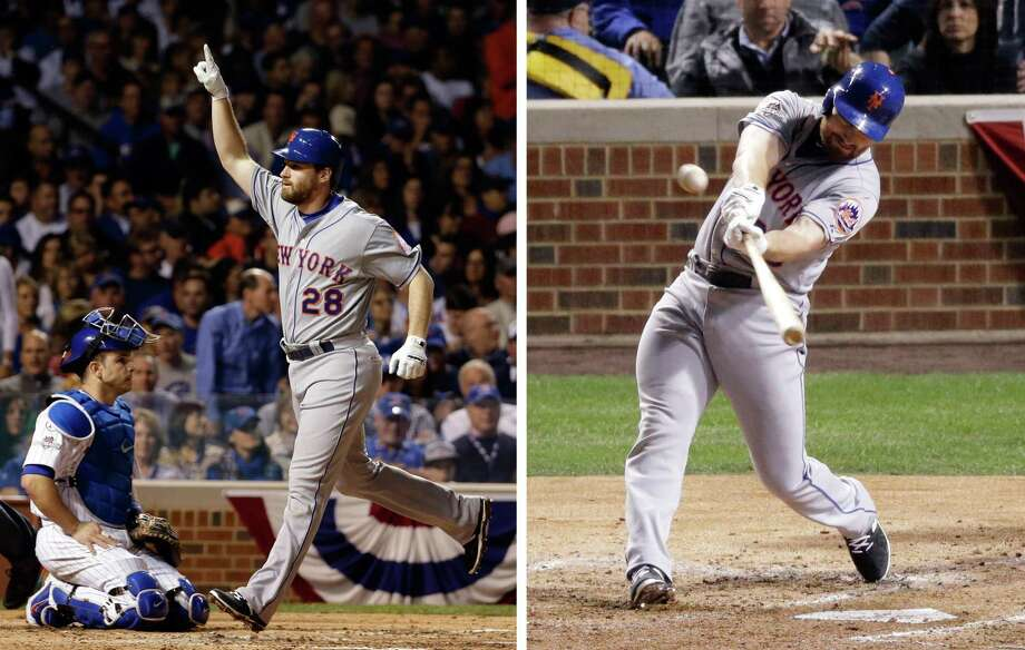 New York second baseman Daniel Murphy won NLCS MVP on Wednesday night after homering for a postseason-record sixth straight game, leading the Mets over the Chicago Cubs 8-3 to complete a four-game sweep. Photo: The Associated Press  / AP