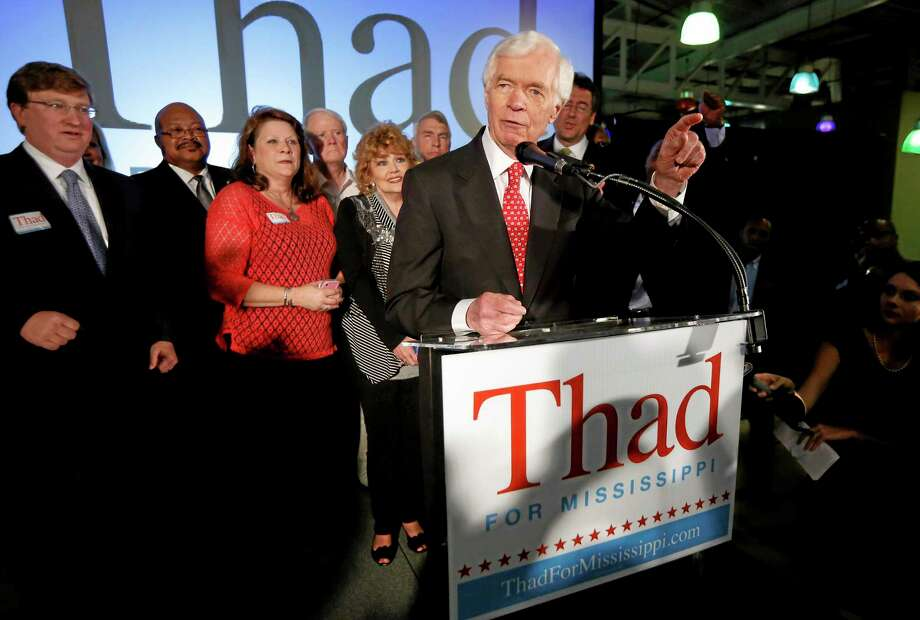 U.S. Sen. Thad Cochran, R-Miss., addresses supporters and volunteers at his runoff election victory party Tuesday, June 24, 2014, at the Mississippi Children's Museum in Jackson, Miss. Cochran defeated state Sen. Chris McDaniel of Ellisville, in a primary runoff for the GOP nomination for senate. (AP Photo/Rogelio V. Solis) Photo: AP / AP