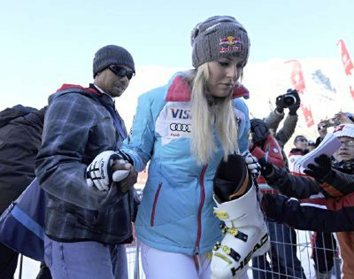 Lindsey Vonn and her boyfriend, Tiger Woods, during the Audi FIS Alpine Ski World Cup Women's Downhill on December 21, 2013 in Val d'Isere, France.