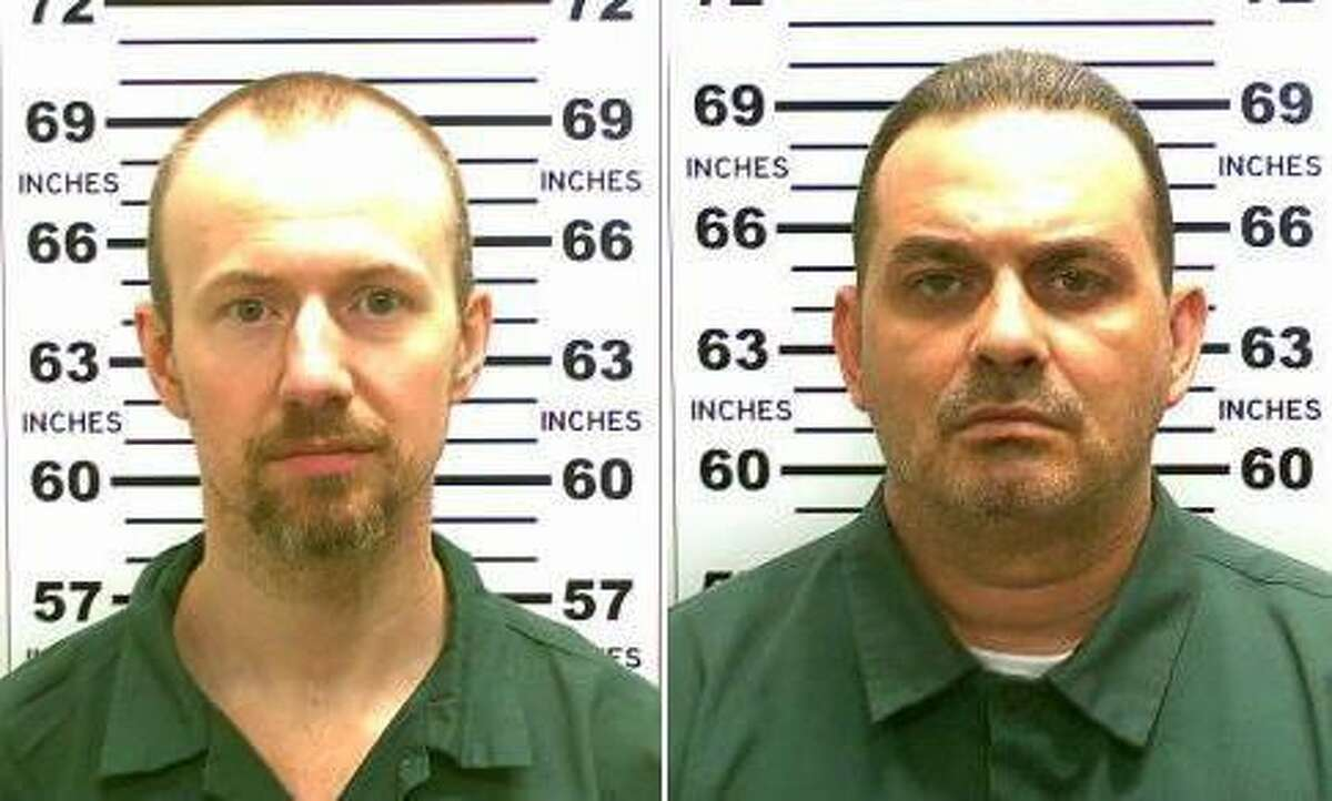 This combination of file photos released by the New York State Police shows David Sweat, left, and Richard Matt. Matt, who staged a brazen escape from an upstate maximum-security prison with Sweat and had been hunted for three weeks was shot and killed Friday, June 26, 2015, but Sweat, is still on the run.