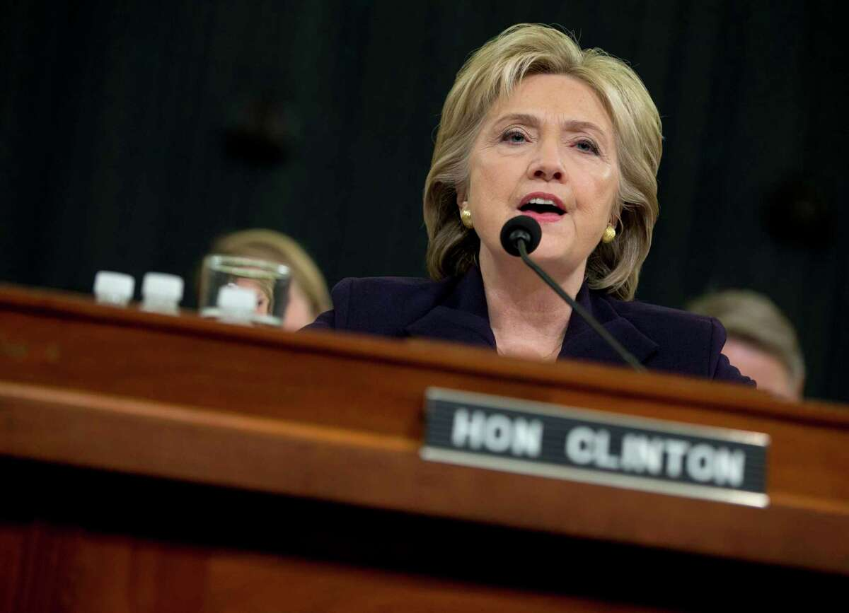 Democratic presidential candidate, former Secretary of State Hillary Rodham Clinton testifies on Capitol Hill in Washington on Oct. 22, 2015 before the House Benghazi Committee.