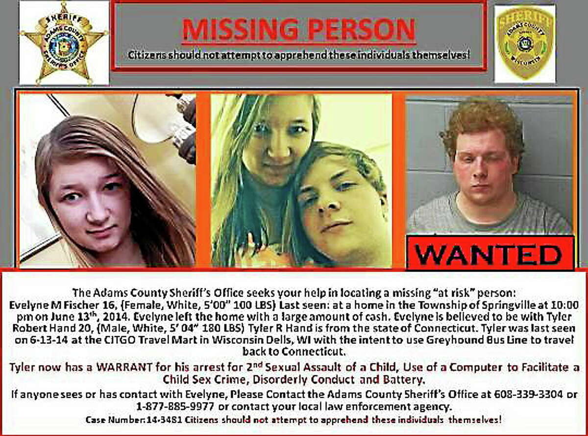 A missing person poster issued in Wisconsin for 16-year-old Evelyne Fischer and 20-year-old Tyler Hand. Fischer was found Thursday in Clinton. Hand remains at large, police say.