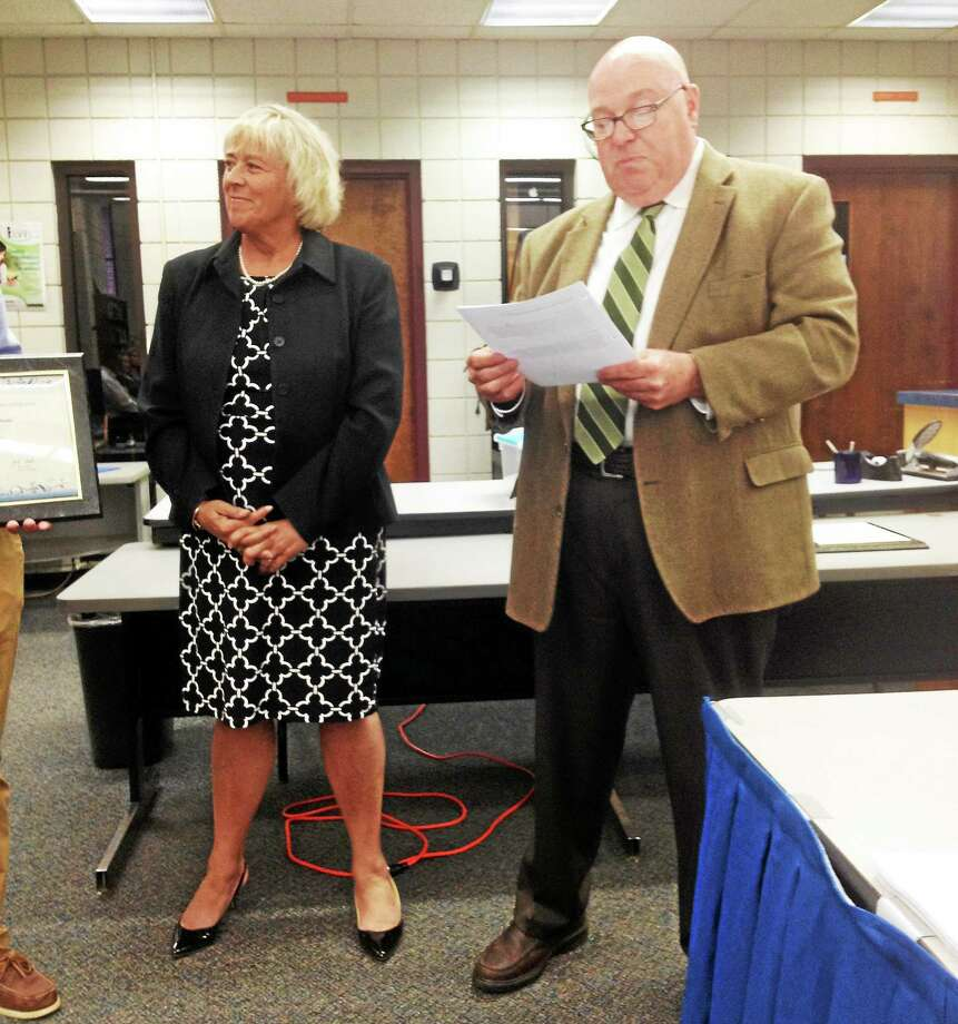 East Hampton High School Superintendent of Schools Diane Dugas, who stepped down last week, and Board of Education Chair Ken Barber are shown at a recent meeting. Photo: File Photo