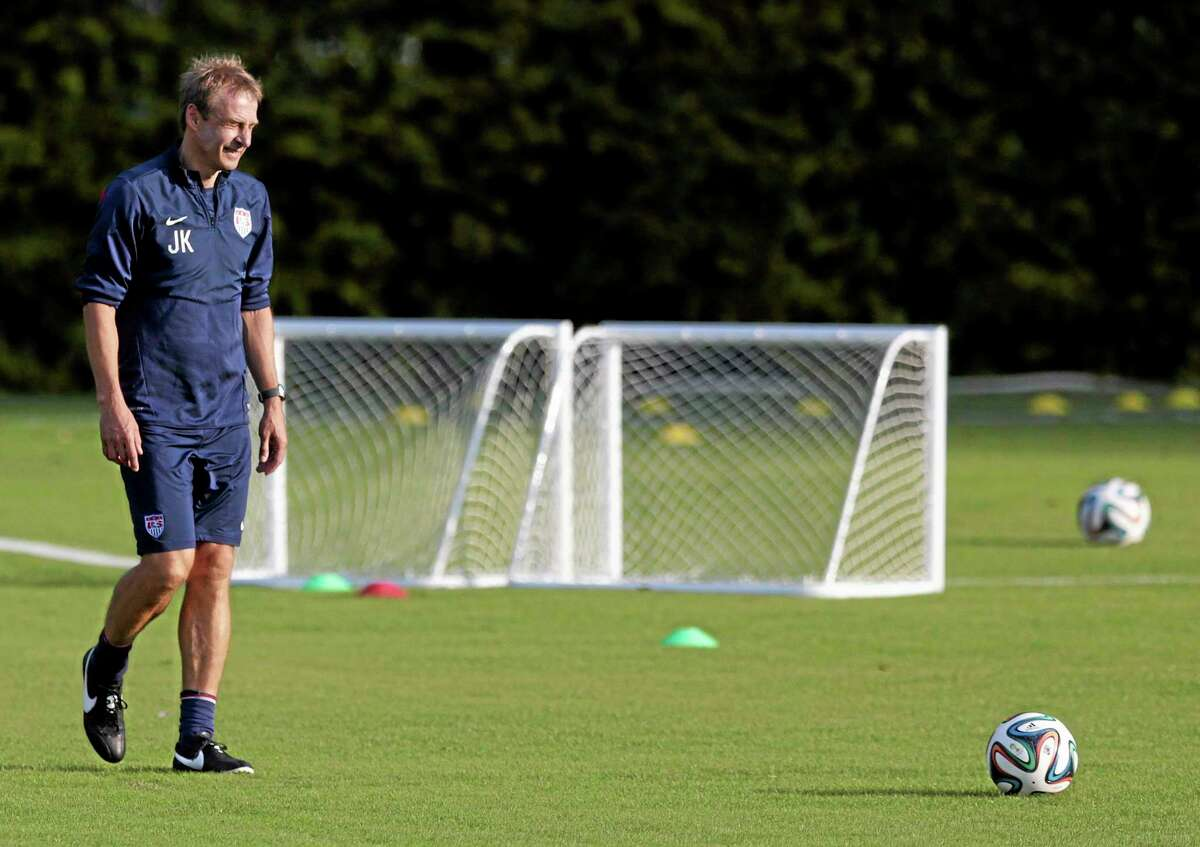 United States coach Jurgen Klinsmann walks a practice field during a training session on Monday in Sao Paulo, Brazil. The U.S. will play Germany in a group G World Cup match on Thursday in Recife, Brazil.