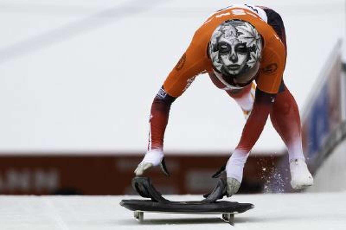 Canadian Sarah Reid sports her custom skeleton helmet.