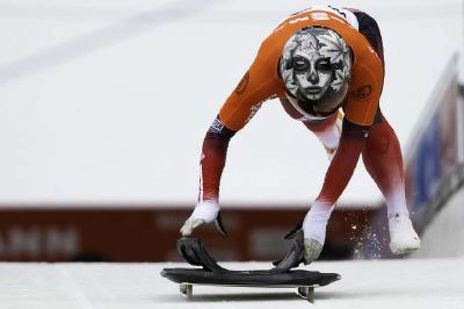 Canadian Sarah Reid sports her custom skeleton helmet.