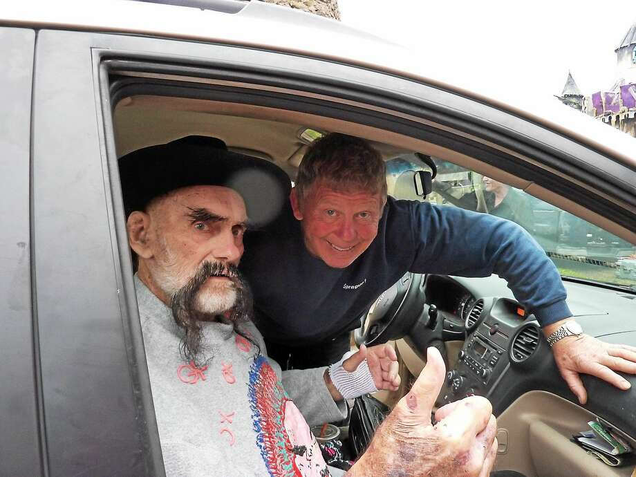 Pro wrestlers Ox Baker and Bob Backlund at Wild Bill's Nostalgia Center on Oct. 13. Baker, who died Oct. 20, will be honored at a memorial at Wild Bill's fun house on Nov. 2 in Middletown. Photo: Courtesy Bill Ziegler