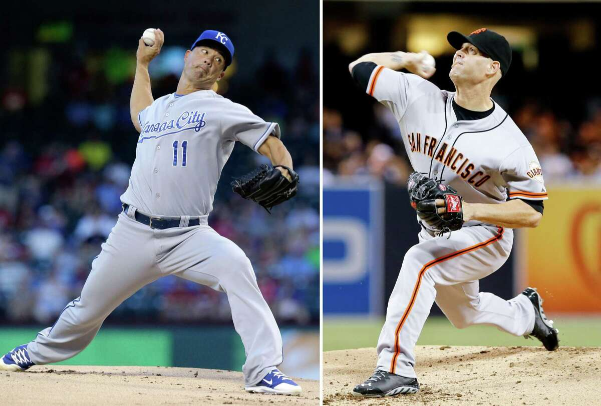 Jeremy Guthrie, left, will start for the Kansas City Royals in Game 3 and oppose the San Francisco Giants' Tim Hudson.