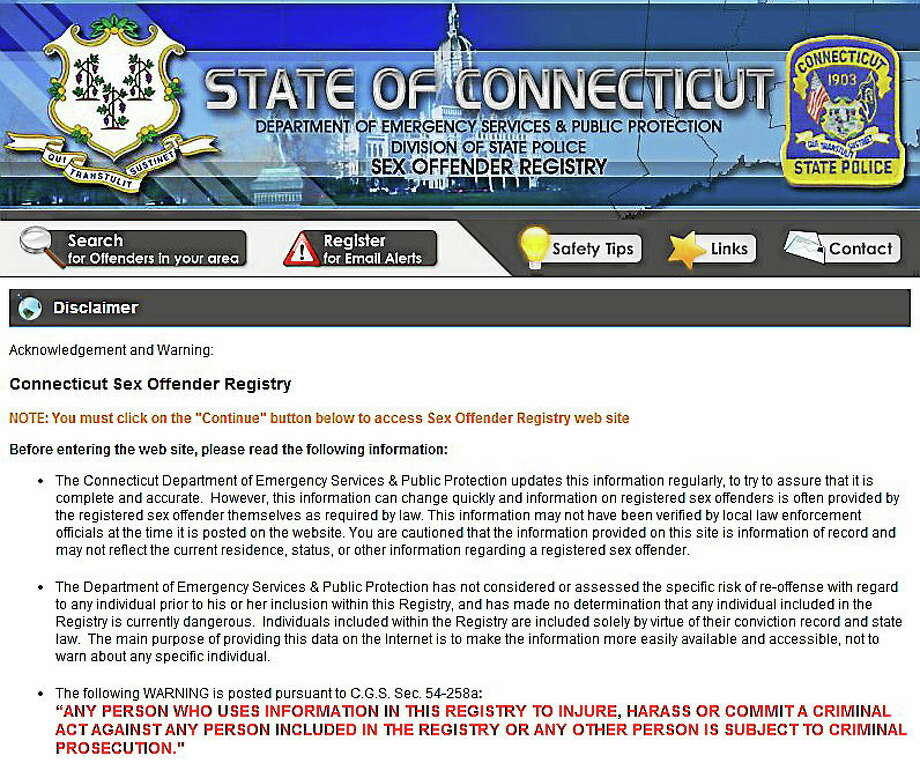 Screenshot of Connecticut Sex Offender Registry home page. Photo: Journal Register Co.