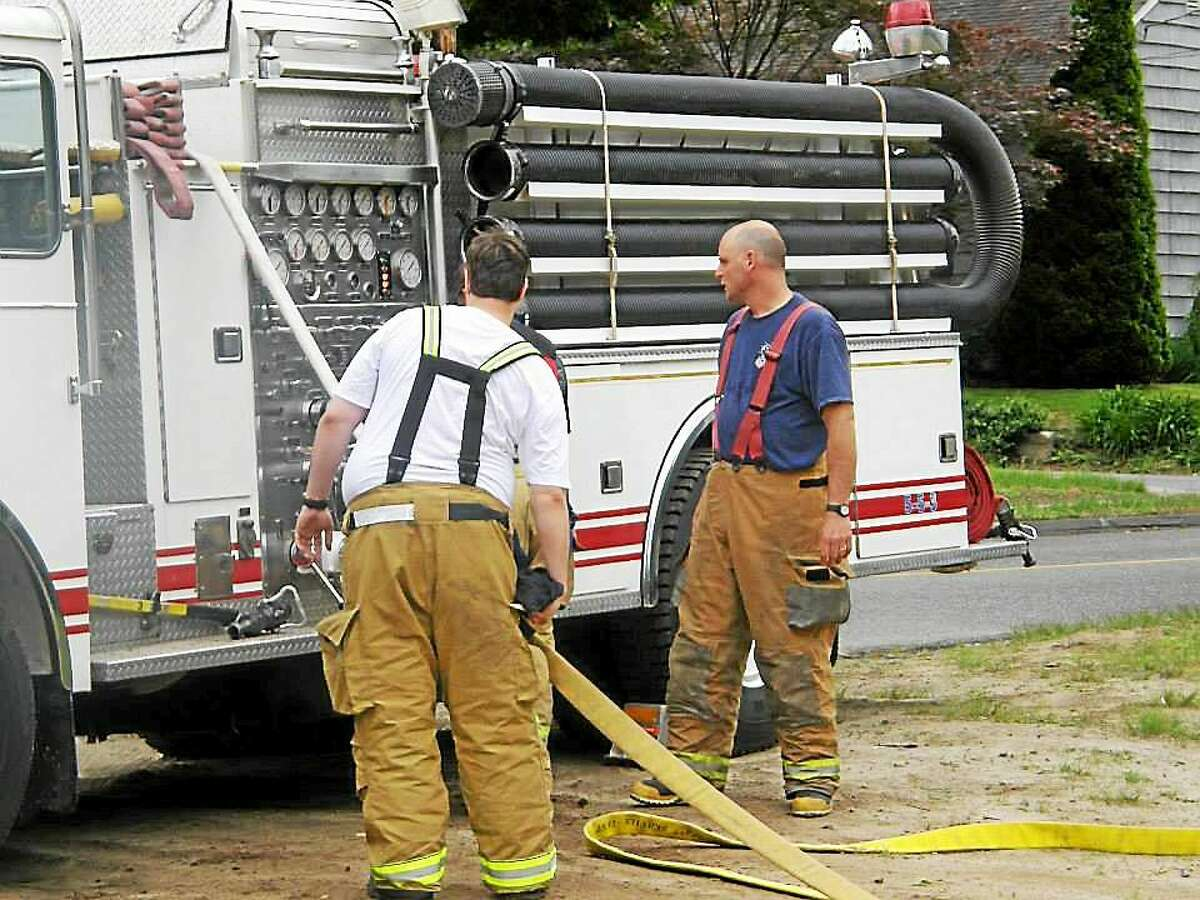 Deep River firefighters knocked down a house fire Thursday.