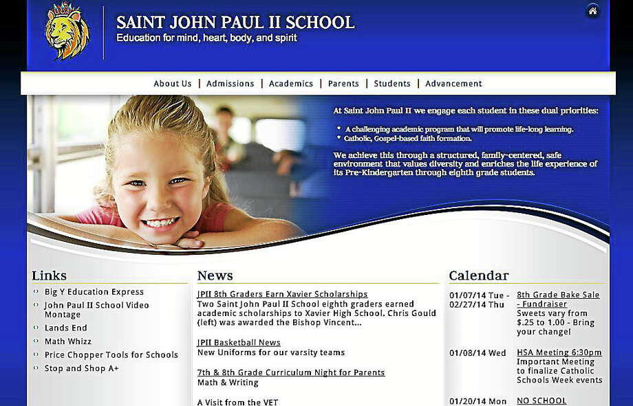 Screen shot of the new website for Saint John Paul II School in Middletown. Photo: Journal Register Co.