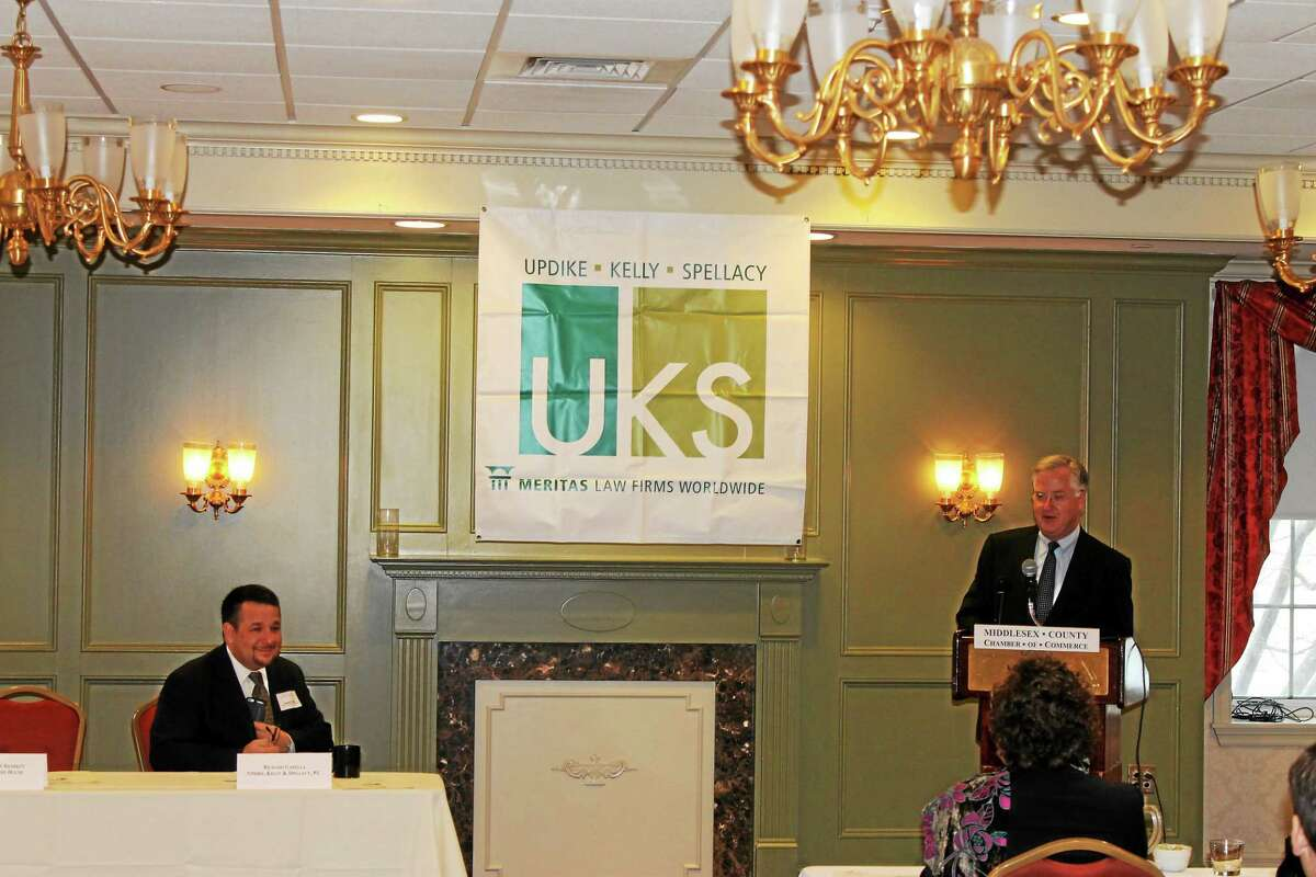 On Feb. 17, Middlesex County Chamber of Commerce President Larry McHugh and other chamber staff members joined Deputy Mayor Bob Santangelo for the grand opening of Macori Restaurant on Washington Street in Middletown. Shown are Middletown Small Business Development Center Counselor Paul Dodge, CT Small Business Development Center Counselor Jim Jackson, Santangelo, Rafael Paredes of Macori Restaurant and McHugh.