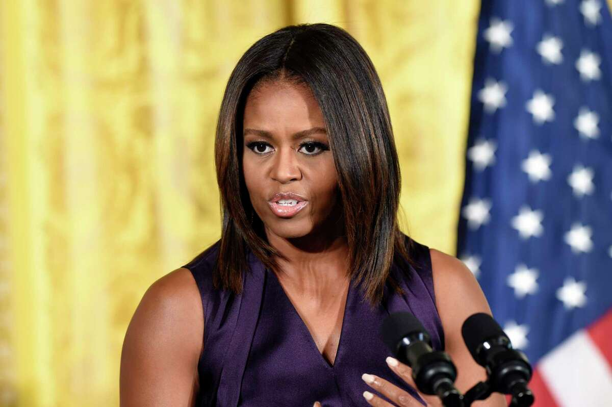 In this Sept. 30 file photo, First Lady Michelle Obama speaks at a luncheon in the East Room of the White House in Washington.