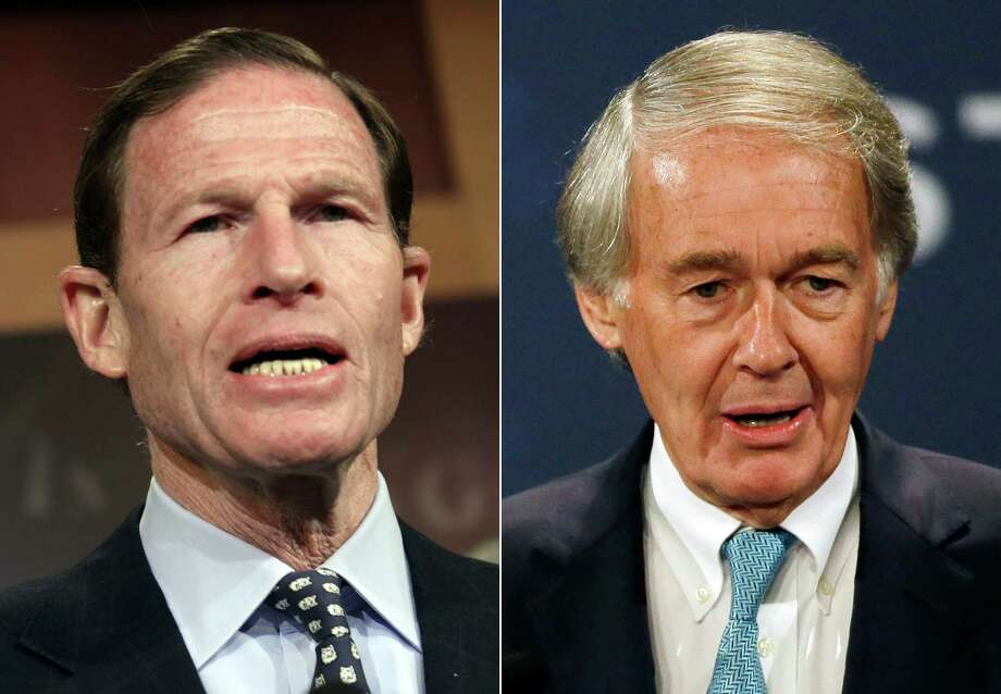 This combination made from file photos shows U.S. Senators Richard Blumenthal, D-Conn., left, and Ed Markey, D-Mass. In a letter delivered Thursday, Oct. 23, 2014, Blumenthal and Markey are calling on regulators to issue a nationwide recall of cars with faulty air bags made by Takata Corp., questioning why automakers have been allowed to limit recalls to only certain locations with high humidity. (AP Photo/Lauren Victoria Burke, Stephan Savoia) Photo: AP / AP