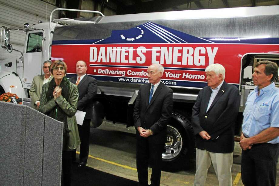 From left are David Daniels, Chris Herb, U.S. Rep. Rosa DeLauro, Rep. Joe Courtney, John Mitchell and David Foster at a Portland press conference on Thursday. Photo: Kathleen Schassler — The Middletown Press  / Kathleen Schassler All Rights