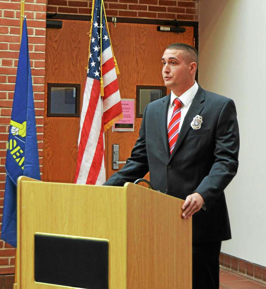 Richard Bianchi Jr. was sworn in as a Cromwell Police patrol officer. Photo: Submitted Photo