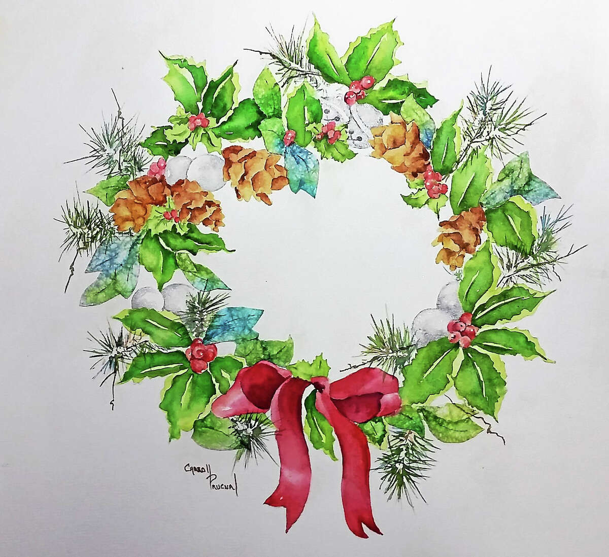 Contributed photo Workshop participants will learn to make a mixed-media holiday wreath with guidance from artist Audrey Prucnal in November.