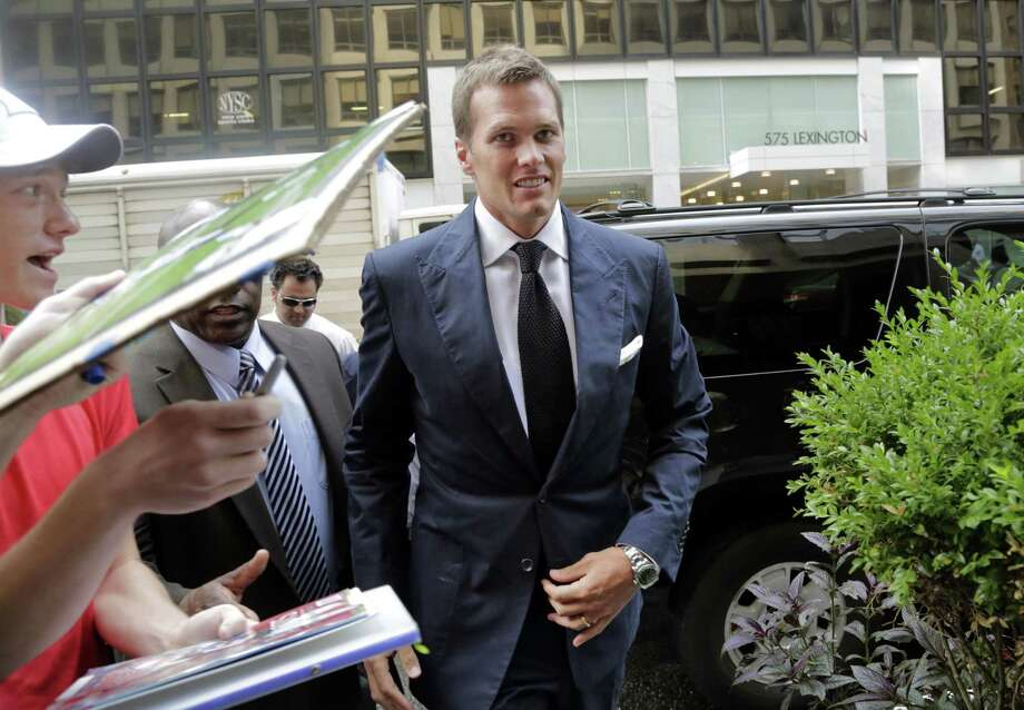 New England Patriots quarterback Tom Brady arrives for his appeal hearing at NFL headquarters in New York on Tuesday. Photo: Mark Lennihan — The Associated Press  / AP