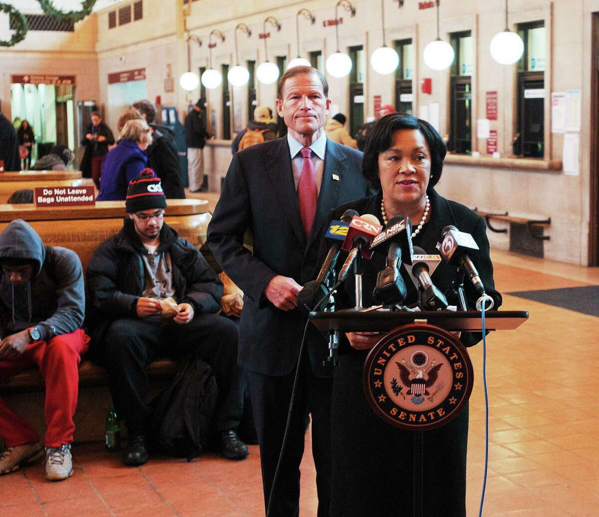 (Peter Casolino ó New Haven Register) Mayor Toni Harp talks about proposed rail commuter subsidies with Senator Richard Blumenthal during a press conference at New Haven Union Station. pcasolino@NewHavenRegister