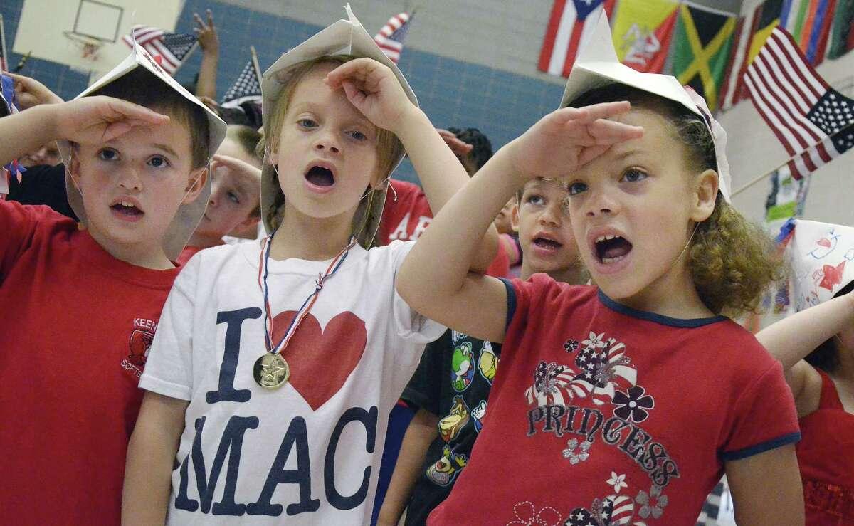 Macdonough Elementary School kindergarten students celebrate Flag Day.