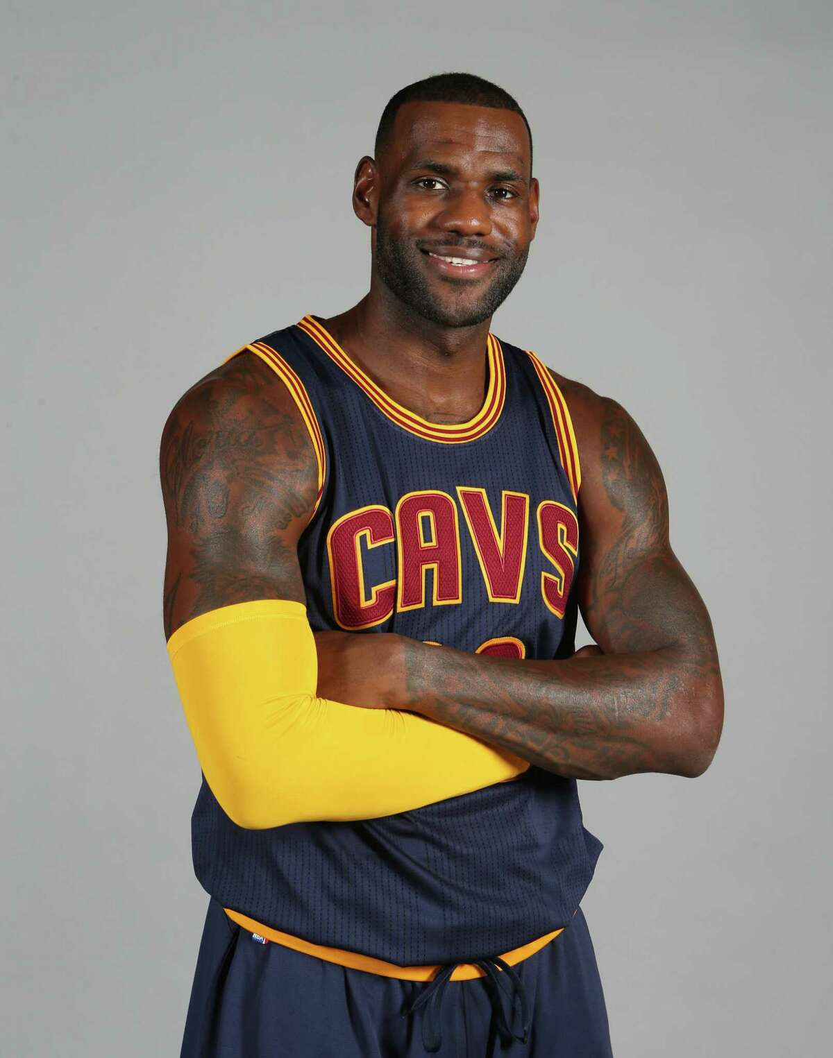 This is Sept. 28, 2015 photo shows Cleveland Cavaliers' LeBron James posed during the NBA team's media day Independence, Ohio.