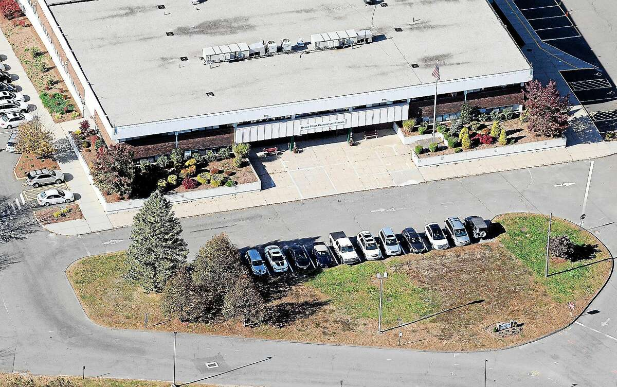 This Oct. 28, 2013 aerial photo shows the Sandy Hook Elementary School, temporarily relocated to the former Chaulk Hill School building in Monroe, Conn.