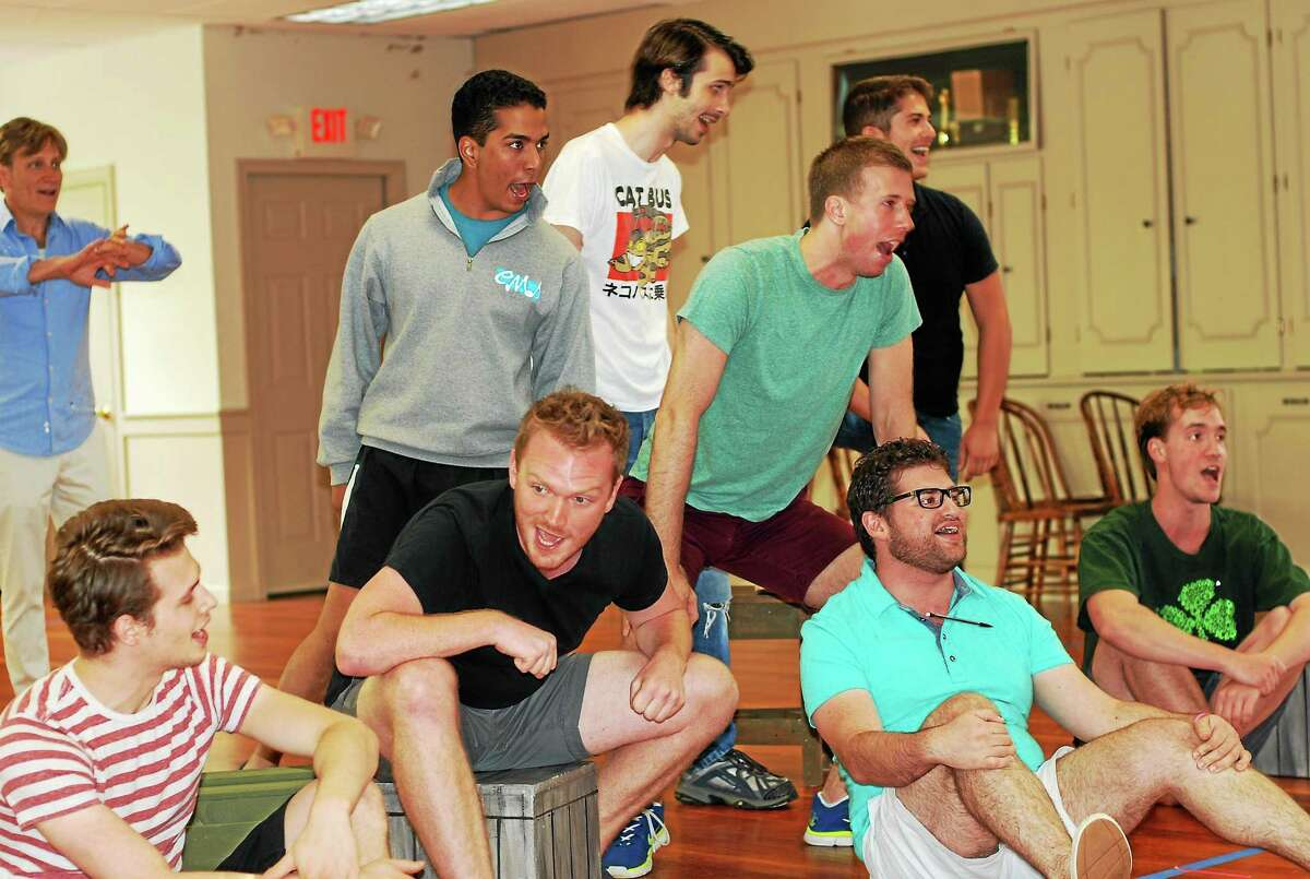 """Photo courtesy of Ivoryton Playhouse """"Seabees"""" cast members rehearse a number for """"South Pacific"""" opening July 1 at the Ivoryton Playhouse."""