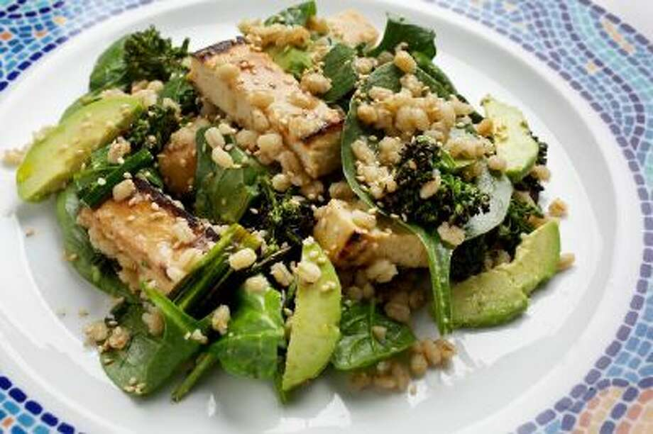 Barley, Tofu and Spinach Salad With Miso Dressing photographed in Washington, DC.