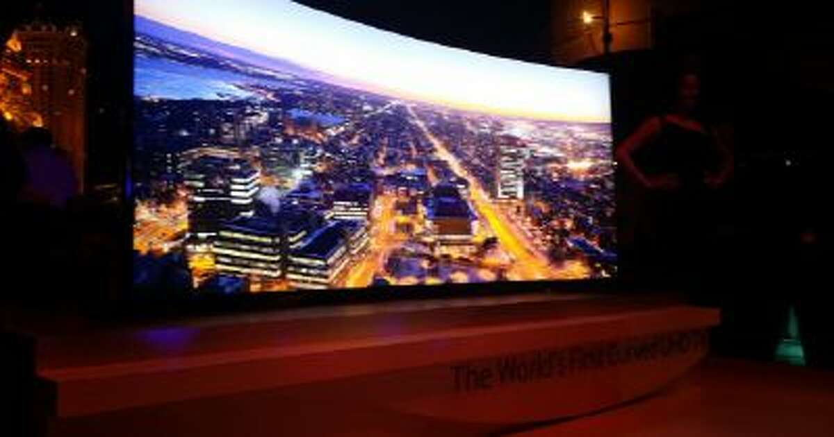 Samsung's Ultra HD Curved TVs and a TV with a giant bendable screen is displayed at the Consumer Electronics Show in Las Vegas.
