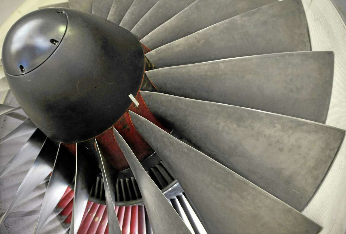 A Pratt & Whitney engine at company headquarters in East Hartford, Conn.