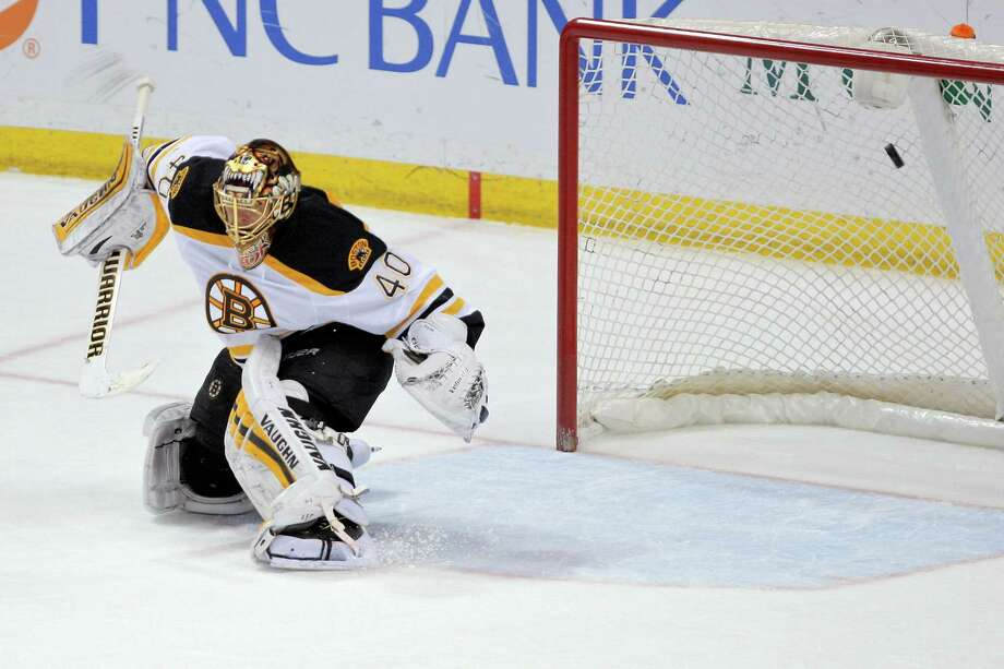 Bruins goalie Tuukka Rask is unable to stop the Blues' Vladimir Tarasenko's shot during the third period of Boston's 5-1 loss on Friday in St. Louis. Photo: Scott Kane — The Associated Press  / FR171020 AP