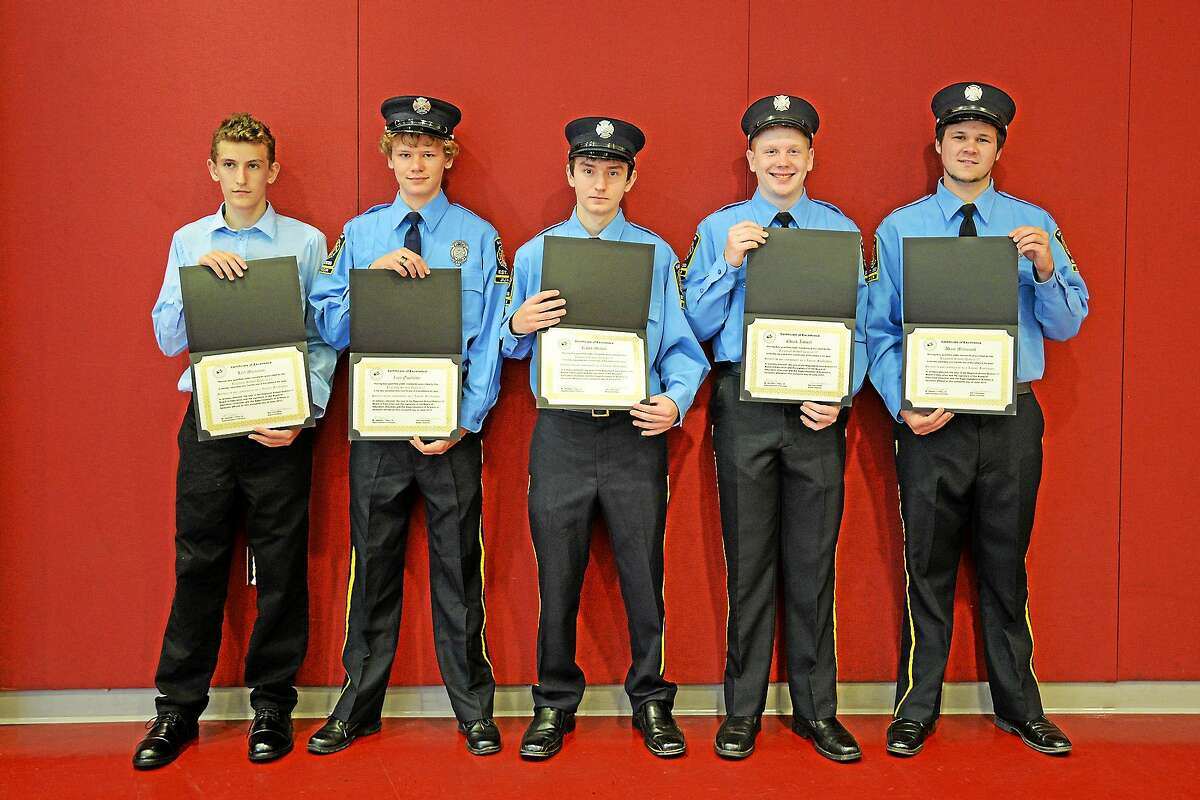 From left are Haddam Fire Co. juniors Leif Munzner, Zack Ouellette, Kaleb Mislick, Charles Kowal and Adam Massicott, who all received a Certificate of Excellence from the District 17 Board of Education June 16. Not pictured are members Derek Brutzman, Wyatt Bates, Cahill Cronin and EJ Adametz.