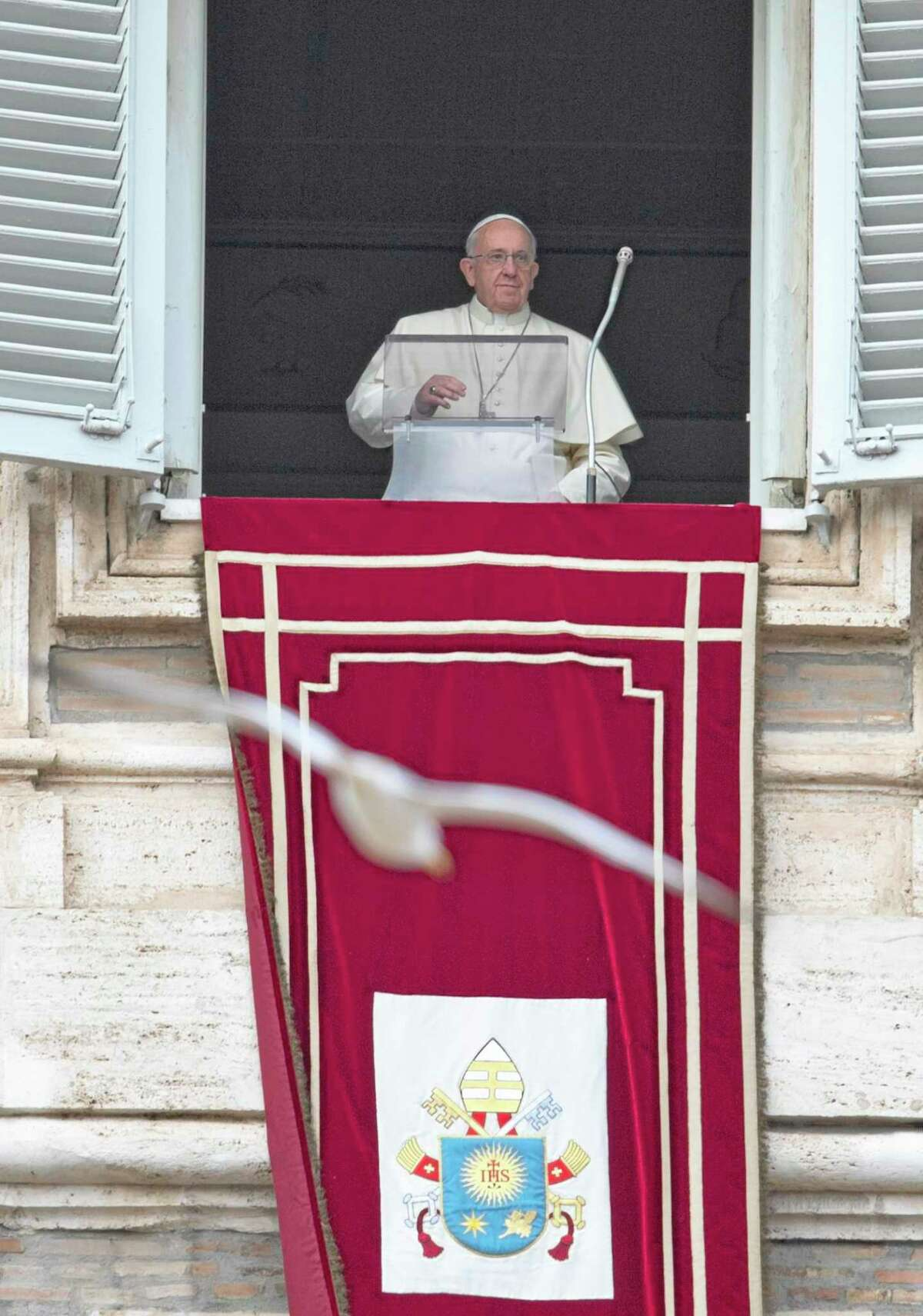 A seagull flies past pope Francis as he arrives for the Angelus noon prayer he celebrates from the window of his studio overlooking St. Peter's Square at the Vatican, Sunday, Jan. 5, 2014. Pope Francis announced Sunday that he would travel to Israel, the West Bank and Jordan on May 24-26, his first visit to the Holy Land and one that comes amid a new U.S. push for peace between Israel and the Palestinians. (AP Photo/Alessandra Tarantino)