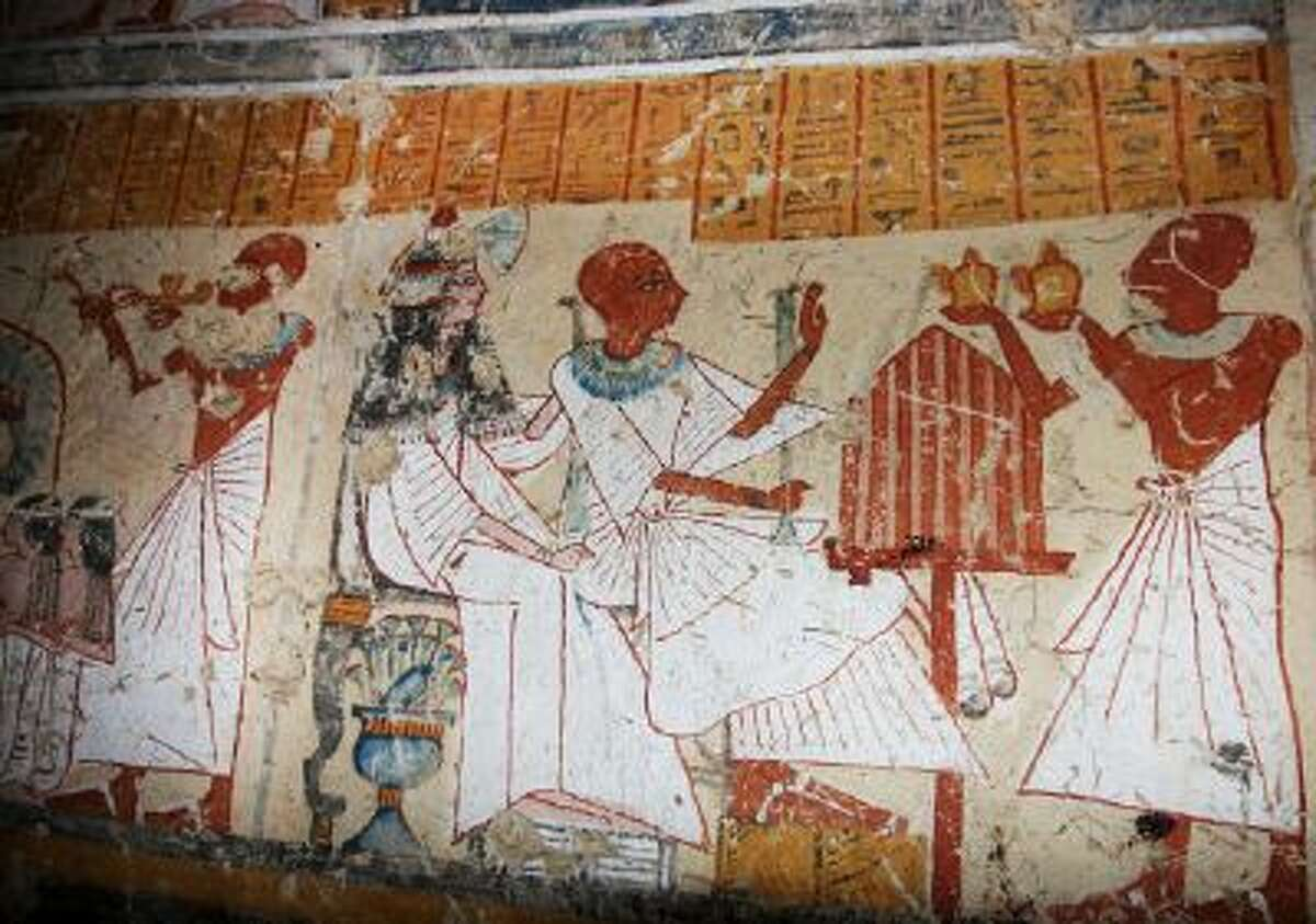 Colored inscriptions on a newly discovered tomb in Luxor, Egypt, Friday.