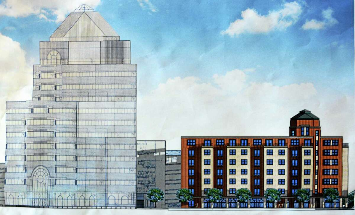 Renderings for the proposed six-story high-rise complex in downtown Middletown