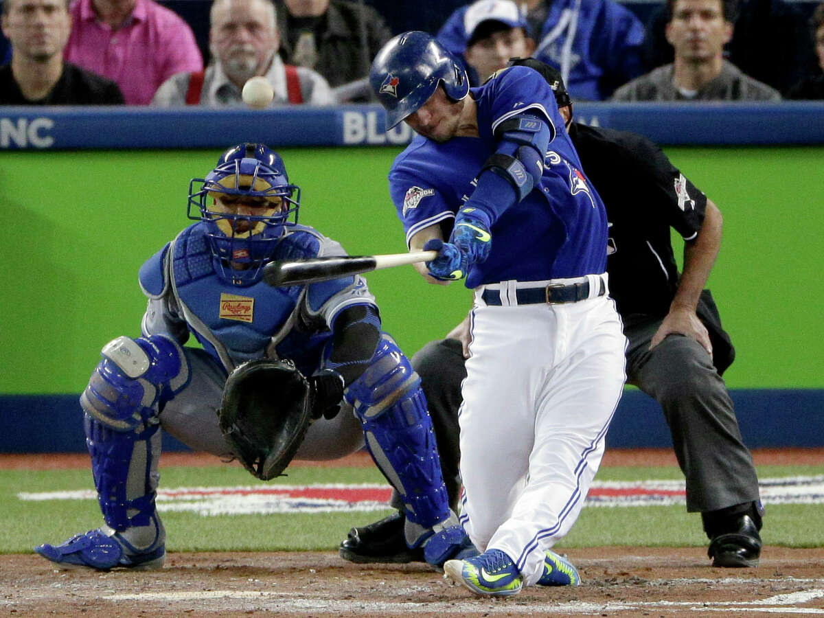 The Blue Jays' Josh Donaldson watches his two-run home run against the Royals during the third inning Monday.