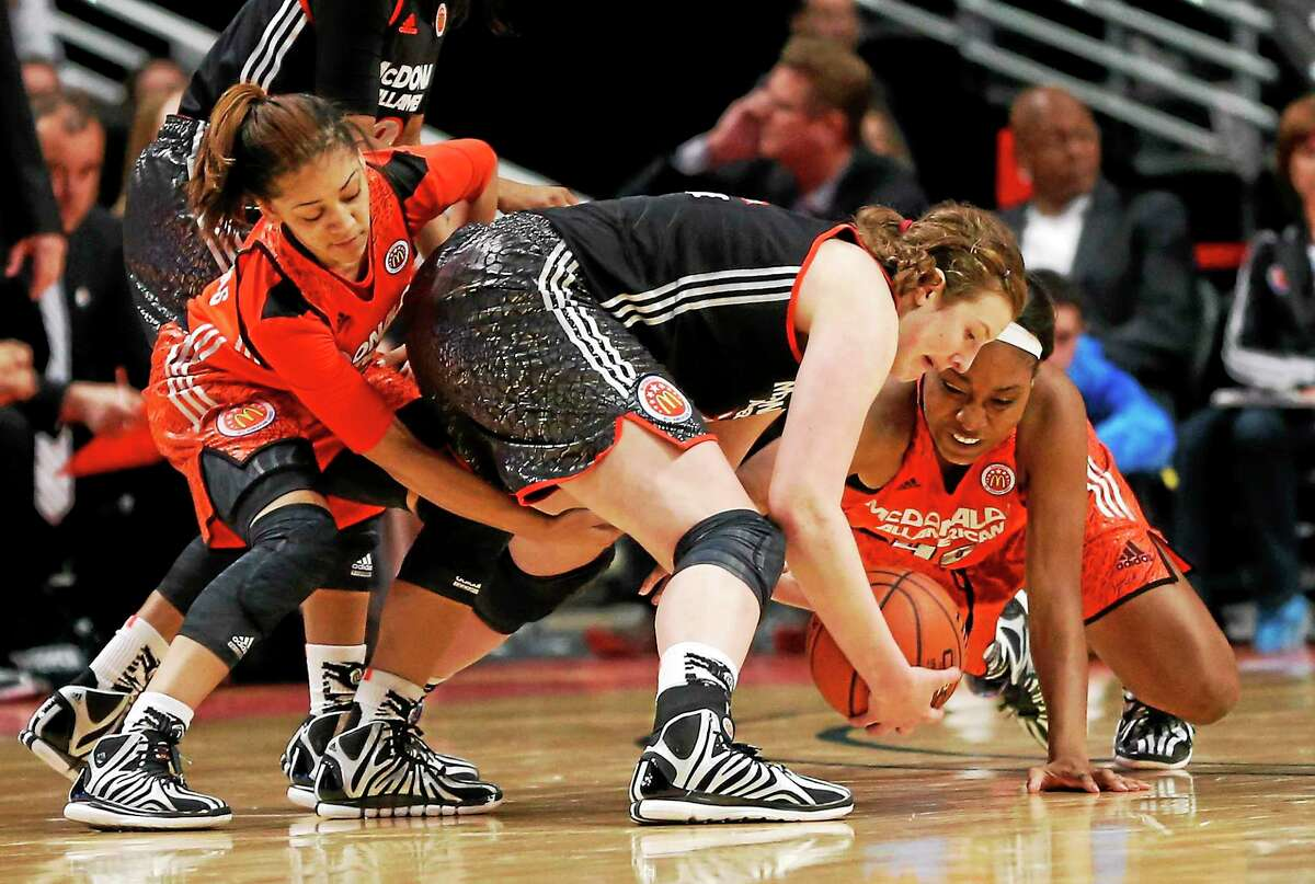 Incoming UConn freshman Gabby Williams, left, at the 20014 McDonald's All-American game.