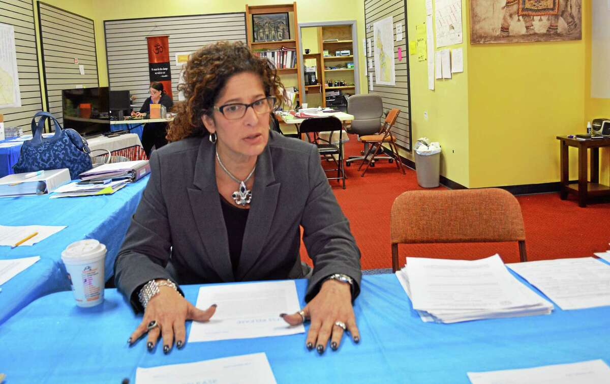 Middletown Republican mayoral candidate Common Councilwoman Sandra Russo-Driska speaks to the press at her campaign headquarters on Main Street Monday.