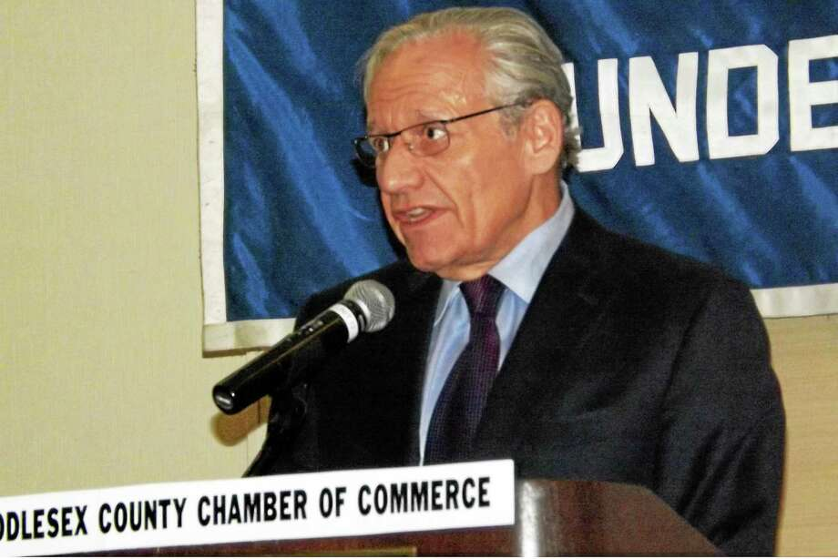 "Veteran journalist Bob Woodward spoke to members of the Middlesex County Chamber of Commerce Monday in Cromwell and signed copies of his new book, ""The Last of the President's Men."" Photo: Robert Mayer — The Middletown Press"