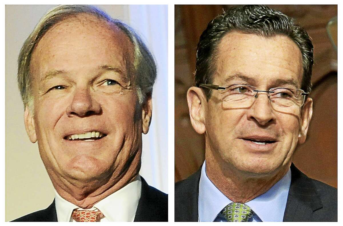 At left: Republican challenger Tom Foley; at right: Connecticut Gov. Dannel P. Malloy.