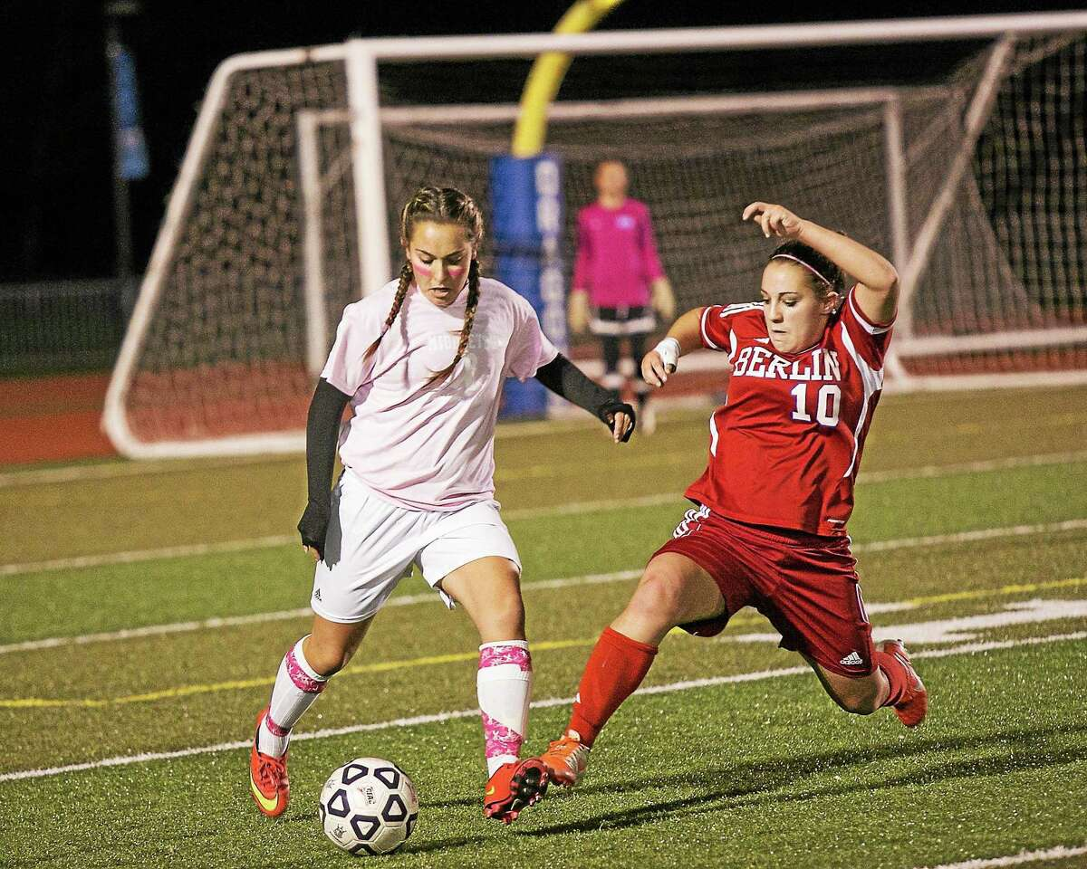 Middletown's Amanda Bowen takes control on defense against Berlin's Sarah Bosco.