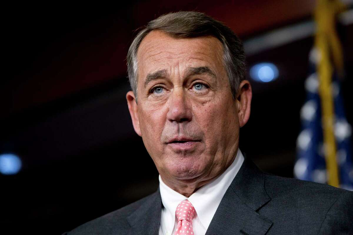 In this Sept. 25, 2015 photo, House Speaker John Boehner of Ohio speaks during a news conference on Capitol Hill. House Republicans return to Washington this week to confront a nearly unprecedented leadership crisis, looming budget deadlines and a deeply uncertain future.