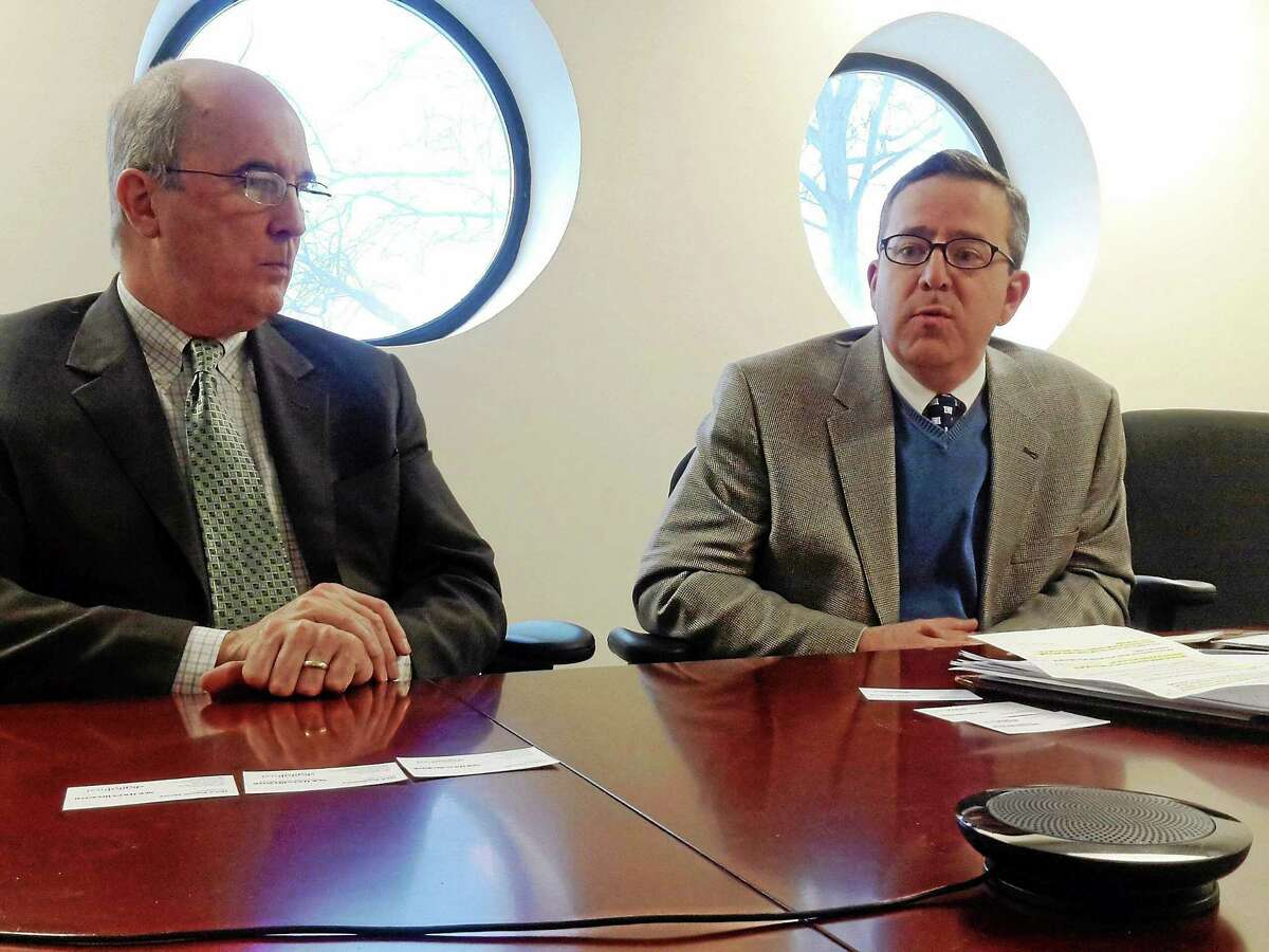 Connecticut Business and Industry Association President and CEO Joseph Brennan and Senior vVice President Brian Flaherty meet with the New Haven Register editorial board Thursday.