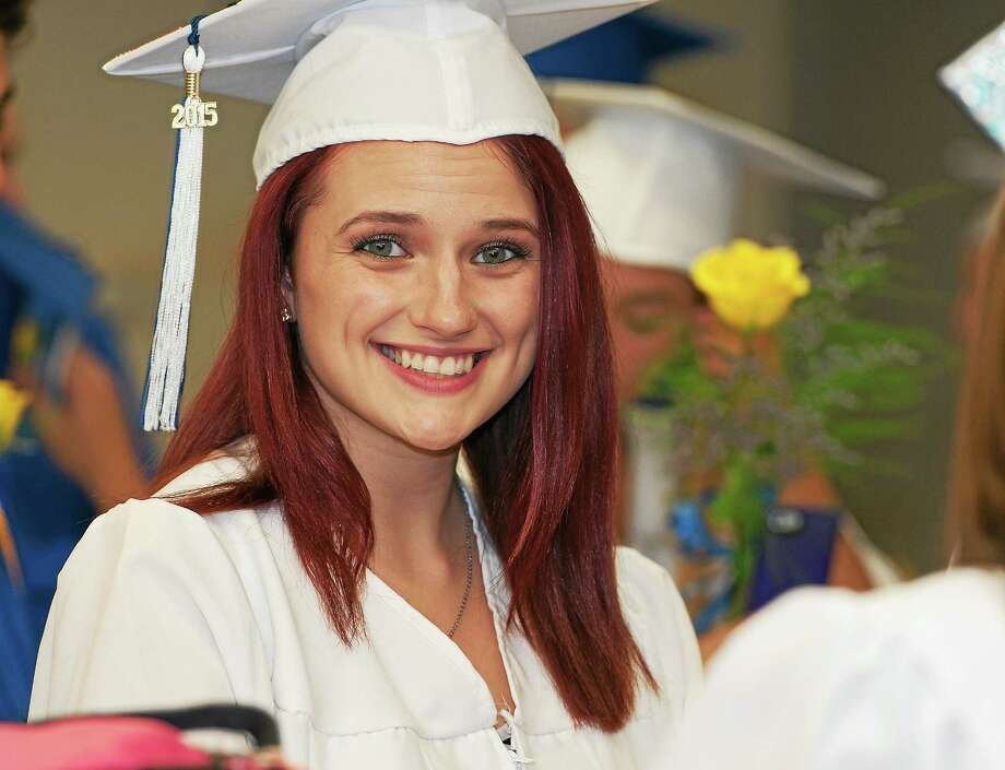 Ray Shaw — Special to the Press  Carli Villa of East Hampton High School's class of 2015 decorated her cap for commencement June 21. Photo: Journal Register Co. / RAY SHAW