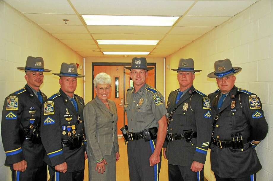 From left are Sgts. Dean Aresco of Middletown and David Luke of Hebron, Lt. Gov. Nancy Wyman, Lt. Arthur Goodale, Commanding Officer of Troop F, and Sgts. Paul Gunn of Newington and Judson Howes of the Higganum section of Haddam. Photo: Trooper Eric Kelly — Special To The Press