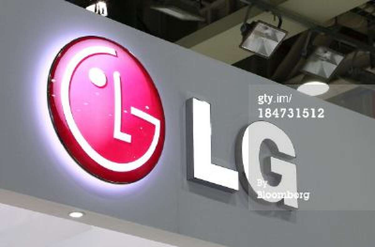 he LG Group logo is displayed at the company's booth at the the 22nd World Energy Congress (WEC) in Daegu, South Korea, on Wednesday, Oct. 16, 2013.