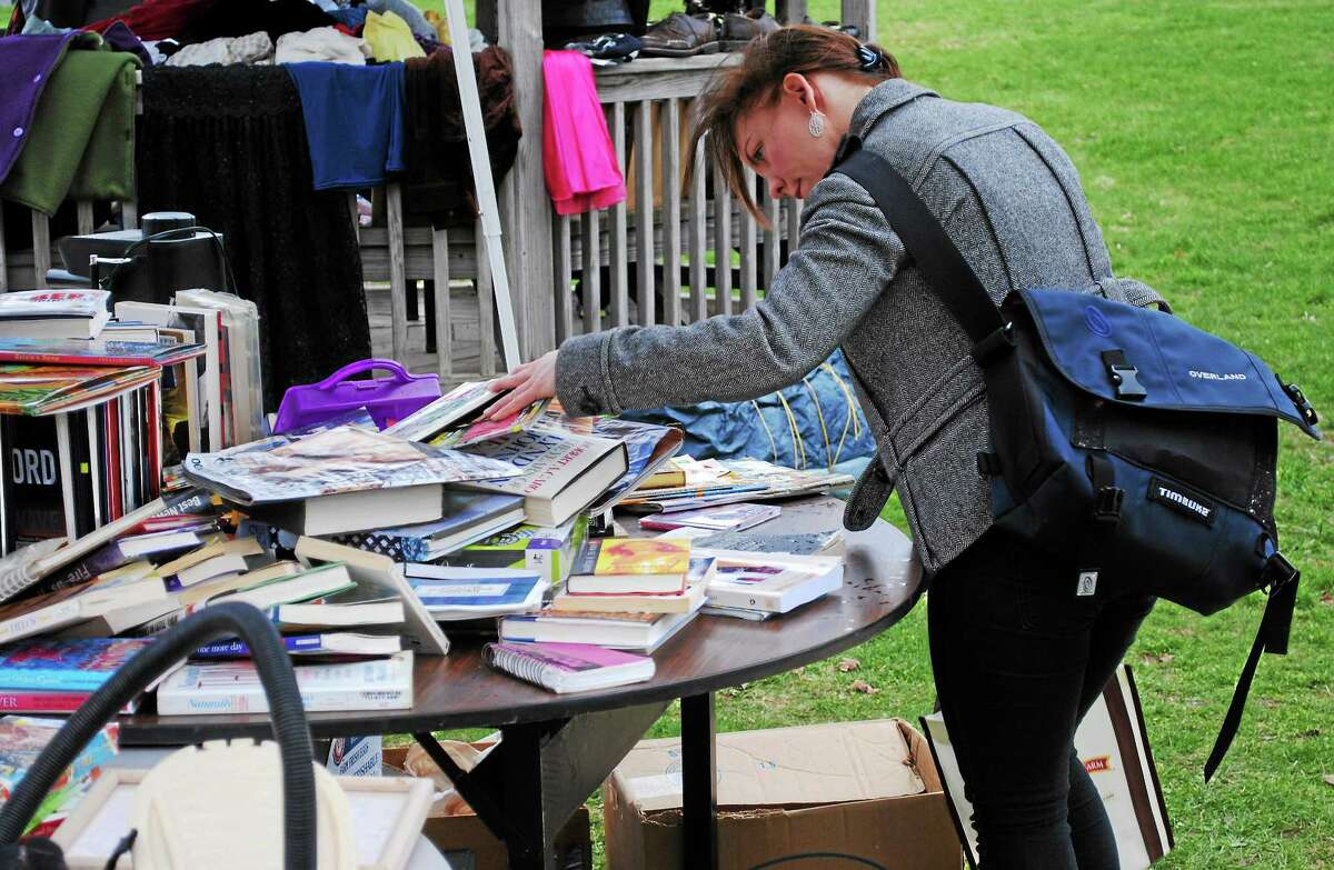 This file photo shows Middlesex Community College's Flippin' Free Stuff event, where students and staff donate and pick up items completely for free in Middletown in celebration of Earth Week, the college's extended Earth Day celebration.