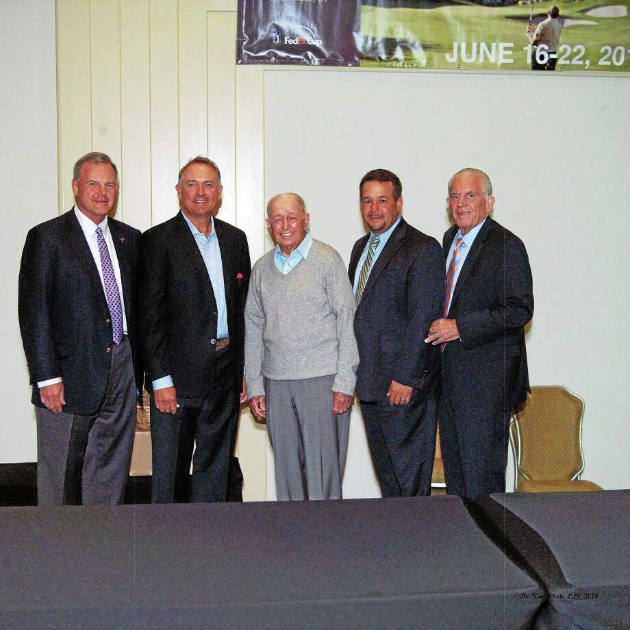 Travelers Companies Executive Vice President and Chief Administrative Officer Andy Bessette, Ken Duke, Bob Toski, Chamber Chairman Rich Carella and Middlesex County Chamber President Larry McHugh. Photo: De Kine Photo LLC — Special To The Press  / Rice Creek Photo