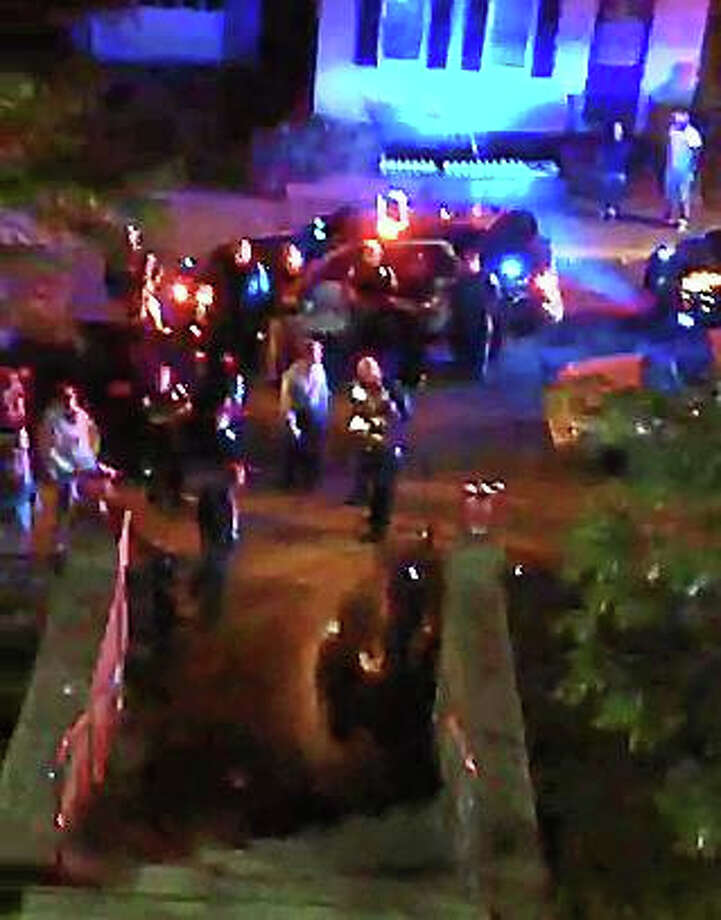 Video footage taken at Wharfside Commons on Ferry Street in Middletown, where police say fights broke out late Friday into early Saturday. Photo: Courtesy