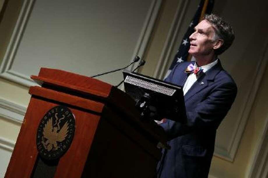 Bill Nye makes a few remarks at a Celebration Of Carl Sagan at The Library of Congress on November 12, 2013 in Washington, DC.